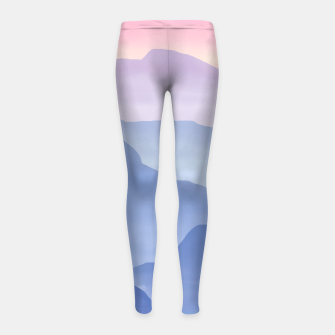 Thumbnail image of Magical Candy Hand-painted Watercolor Mountains, Airy Mountain Landscape in Pastel Blush Pink, Purple and Blue Color Girl's leggings, Live Heroes