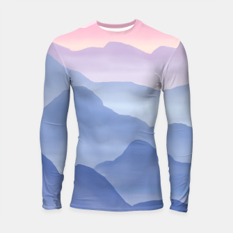 Thumbnail image of Magical Candy Hand-painted Watercolor Mountains, Airy Mountain Landscape in Pastel Blush Pink, Purple and Blue Color Longsleeve rashguard , Live Heroes