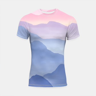 Thumbnail image of Magical Candy Hand-painted Watercolor Mountains, Airy Mountain Landscape in Pastel Blush Pink, Purple and Blue Color Shortsleeve rashguard, Live Heroes
