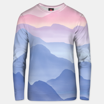 Thumbnail image of Magical Candy Hand-painted Watercolor Mountains, Airy Mountain Landscape in Pastel Blush Pink, Purple and Blue Color Unisex sweater, Live Heroes