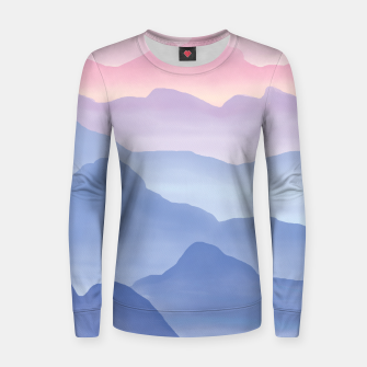 Thumbnail image of Magical Candy Hand-painted Watercolor Mountains, Airy Mountain Landscape in Pastel Blush Pink, Purple and Blue Color Women sweater, Live Heroes