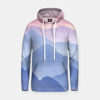 Thumbnail image of Magical Candy Hand-painted Watercolor Mountains, Airy Mountain Landscape in Pastel Blush Pink, Purple and Blue Color Hoodie, Live Heroes