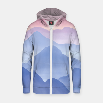 Thumbnail image of Magical Candy Hand-painted Watercolor Mountains, Airy Mountain Landscape in Pastel Blush Pink, Purple and Blue Color Zip up hoodie, Live Heroes