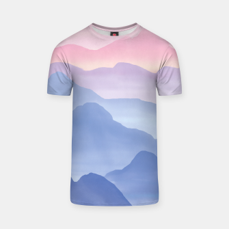 Thumbnail image of Magical Candy Hand-painted Watercolor Mountains, Airy Mountain Landscape in Pastel Blush Pink, Purple and Blue Color T-shirt, Live Heroes