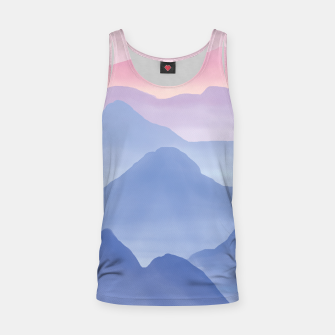 Thumbnail image of Magical Candy Hand-painted Watercolor Mountains, Airy Mountain Landscape in Pastel Blush Pink, Purple and Blue Color Tank Top, Live Heroes
