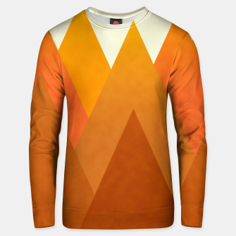 Miniatur Modern Warming Abstract Geometric Mountains Landscape with Rising Sun in Hot Autumnal Ochre Colors Unisex sweater, Live Heroes