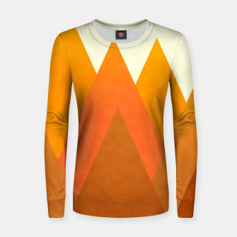 Miniatur Modern Warming Abstract Geometric Mountains Landscape with Rising Sun in Hot Autumnal Ochre Colors Women sweater, Live Heroes