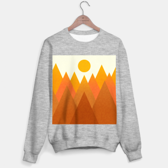 Miniatur Modern Warming Abstract Geometric Mountains Landscape with Rising Sun in Hot Autumnal Ochre Colors Sweater regular, Live Heroes