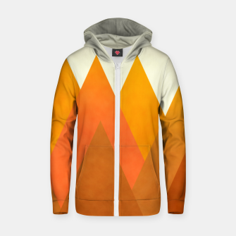 Miniatur Modern Warming Abstract Geometric Mountains Landscape with Rising Sun in Hot Autumnal Ochre Colors Zip up hoodie, Live Heroes