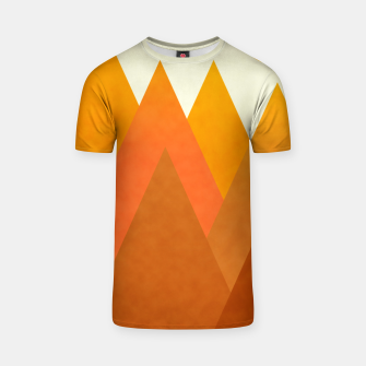Miniatur Modern Warming Abstract Geometric Mountains Landscape with Rising Sun in Hot Autumnal Ochre Colors T-shirt, Live Heroes