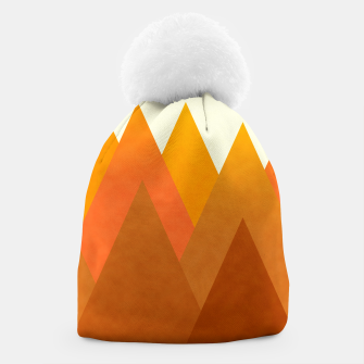 Miniatur Modern Warming Abstract Geometric Mountains Landscape with Rising Sun in Hot Autumnal Ochre Colors Beanie, Live Heroes