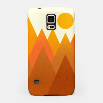 Miniatur Modern Warming Abstract Geometric Mountains Landscape with Rising Sun in Hot Autumnal Ochre Colors Samsung Case, Live Heroes