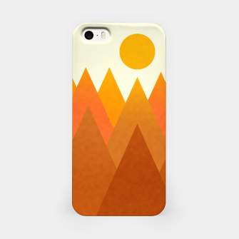Miniatur Modern Warming Abstract Geometric Mountains Landscape with Rising Sun in Hot Autumnal Ochre Colors iPhone Case, Live Heroes