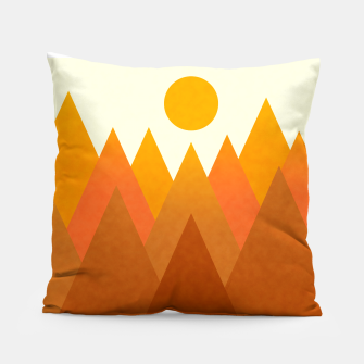 Miniatur Modern Warming Abstract Geometric Mountains Landscape with Rising Sun in Hot Autumnal Ochre Colors Pillow, Live Heroes