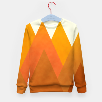 Miniatur Modern Warming Abstract Geometric Mountains Landscape with Rising Sun in Hot Autumnal Ochre Colors Kid's sweater, Live Heroes