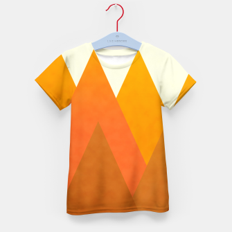 Miniatur Modern Warming Abstract Geometric Mountains Landscape with Rising Sun in Hot Autumnal Ochre Colors Kid's t-shirt, Live Heroes