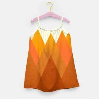 Miniatur Modern Warming Abstract Geometric Mountains Landscape with Rising Sun in Hot Autumnal Ochre Colors Girl's dress, Live Heroes