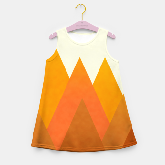 Miniatur Modern Warming Abstract Geometric Mountains Landscape with Rising Sun in Hot Autumnal Ochre Colors Girl's summer dress, Live Heroes