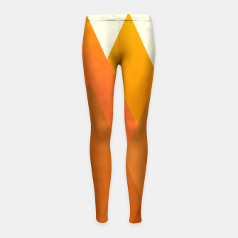 Miniatur Modern Warming Abstract Geometric Mountains Landscape with Rising Sun in Hot Autumnal Ochre Colors Girl's leggings, Live Heroes