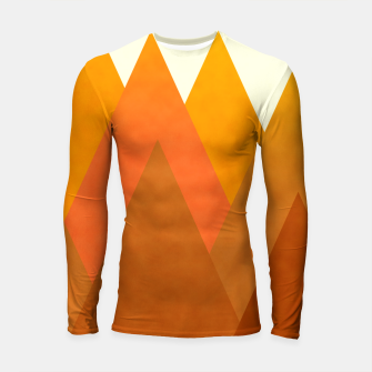 Miniatur Modern Warming Abstract Geometric Mountains Landscape with Rising Sun in Hot Autumnal Ochre Colors Longsleeve rashguard , Live Heroes