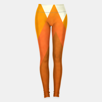 Miniatur Modern Warming Abstract Geometric Mountains Landscape with Rising Sun in Hot Autumnal Ochre Colors Leggings, Live Heroes