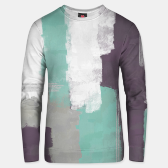 Thumbnail image of Winter Abstract Painting in White, Grey, Mint and Burgundy Colors with Silver Texture, Mixed Media Unisex sweater, Live Heroes