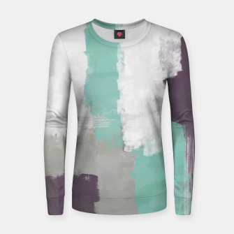 Thumbnail image of Winter Abstract Painting in White, Grey, Mint and Burgundy Colors with Silver Texture, Mixed Media Women sweater, Live Heroes