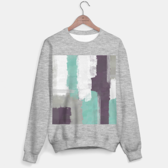 Thumbnail image of Winter Abstract Painting in White, Grey, Mint and Burgundy Colors with Silver Texture, Mixed Media Sweater regular, Live Heroes