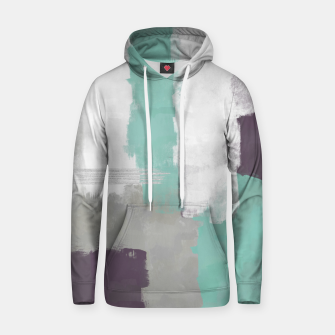 Thumbnail image of Winter Abstract Painting in White, Grey, Mint and Burgundy Colors with Silver Texture, Mixed Media Hoodie, Live Heroes