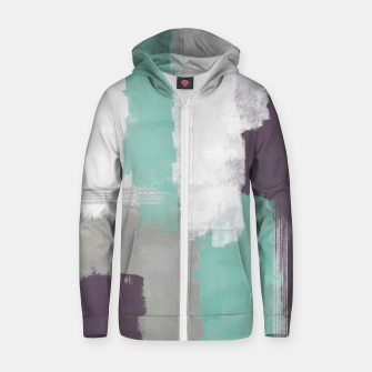 Thumbnail image of Winter Abstract Painting in White, Grey, Mint and Burgundy Colors with Silver Texture, Mixed Media Zip up hoodie, Live Heroes