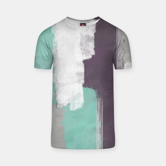 Thumbnail image of Winter Abstract Painting in White, Grey, Mint and Burgundy Colors with Silver Texture, Mixed Media T-shirt, Live Heroes