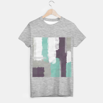 Thumbnail image of Winter Abstract Painting in White, Grey, Mint and Burgundy Colors with Silver Texture, Mixed Media T-shirt regular, Live Heroes