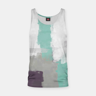 Thumbnail image of Winter Abstract Painting in White, Grey, Mint and Burgundy Colors with Silver Texture, Mixed Media Tank Top, Live Heroes