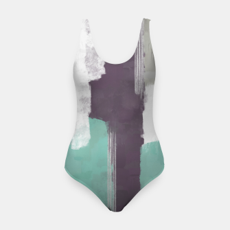Thumbnail image of Winter Abstract Painting in White, Grey, Mint and Burgundy Colors with Silver Texture, Mixed Media Swimsuit, Live Heroes