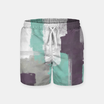 Miniatur Winter Abstract Painting in White, Grey, Mint and Burgundy Colors with Silver Texture, Mixed Media Swim Shorts, Live Heroes