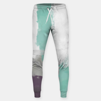 Miniatur Winter Abstract Painting in White, Grey, Mint and Burgundy Colors with Silver Texture, Mixed Media Sweatpants, Live Heroes