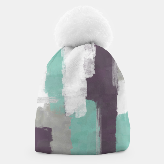 Miniatur Winter Abstract Painting in White, Grey, Mint and Burgundy Colors with Silver Texture, Mixed Media Beanie, Live Heroes