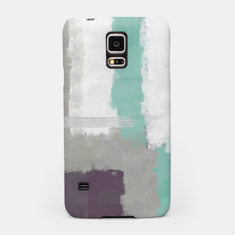 Miniatur Winter Abstract Painting in White, Grey, Mint and Burgundy Colors with Silver Texture, Mixed Media Samsung Case, Live Heroes