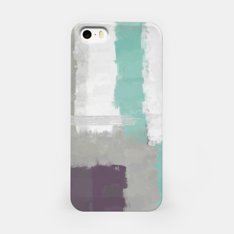 Thumbnail image of Winter Abstract Painting in White, Grey, Mint and Burgundy Colors with Silver Texture, Mixed Media iPhone Case, Live Heroes