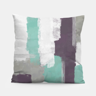 Miniatur Winter Abstract Painting in White, Grey, Mint and Burgundy Colors with Silver Texture, Mixed Media Pillow, Live Heroes