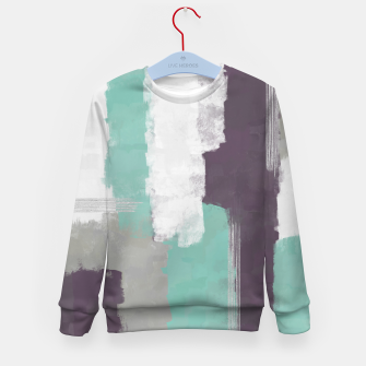 Thumbnail image of Winter Abstract Painting in White, Grey, Mint and Burgundy Colors with Silver Texture, Mixed Media Kid's sweater, Live Heroes