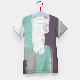 Miniatur Winter Abstract Painting in White, Grey, Mint and Burgundy Colors with Silver Texture, Mixed Media Kid's t-shirt, Live Heroes