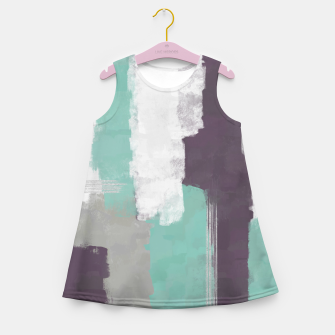 Thumbnail image of Winter Abstract Painting in White, Grey, Mint and Burgundy Colors with Silver Texture, Mixed Media Girl's summer dress, Live Heroes