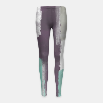 Thumbnail image of Winter Abstract Painting in White, Grey, Mint and Burgundy Colors with Silver Texture, Mixed Media Girl's leggings, Live Heroes