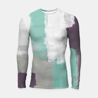 Miniatur Winter Abstract Painting in White, Grey, Mint and Burgundy Colors with Silver Texture, Mixed Media Longsleeve rashguard , Live Heroes