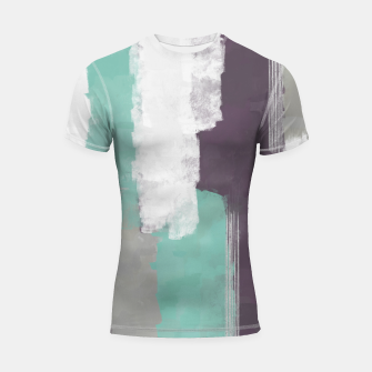 Thumbnail image of Winter Abstract Painting in White, Grey, Mint and Burgundy Colors with Silver Texture, Mixed Media Shortsleeve rashguard, Live Heroes