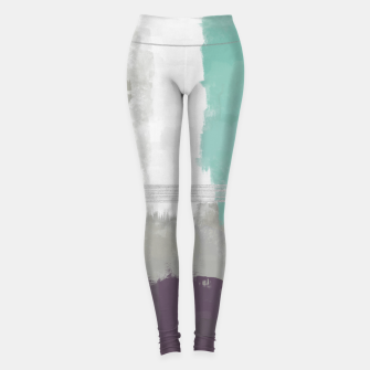 Miniatur Winter Abstract Painting in White, Grey, Mint and Burgundy Colors with Silver Texture, Mixed Media Leggings, Live Heroes