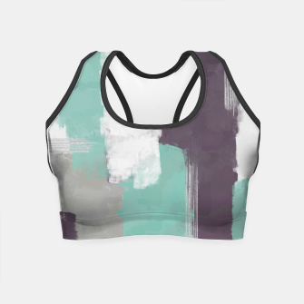 Thumbnail image of Winter Abstract Painting in White, Grey, Mint and Burgundy Colors with Silver Texture, Mixed Media Crop Top, Live Heroes