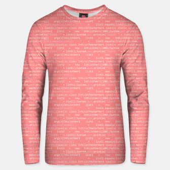 Computer Software Code Pattern in Pink Coral  Unisex sweater thumbnail image
