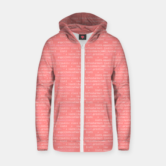 Computer Software Code Pattern in Pink Coral  Zip up hoodie thumbnail image
